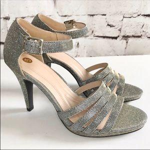 C.P. COMPANY Traci silver + gold ankle strap heel